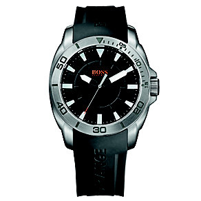 Boss Orange Men's Black Dial Black Rubber Strap Watch - Product number 1400916