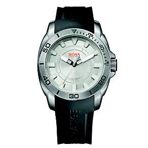 Boss Orange Men's Silver Dial Black Rubber Strap Watch - Product number 1400932