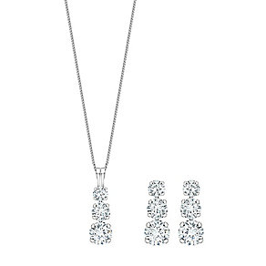 Silver & Rhodium-Plated Trilogy Pendant and Earrings
