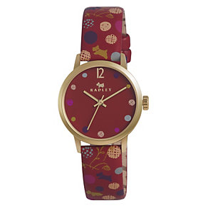 Radley Ladies' Gold-Plated Red Leather Strap Watch - Product number 1402137