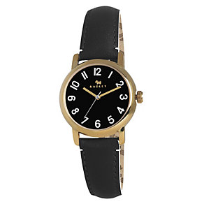 Radley Ladies' Gold-Plated Black Leather Strap Watch - Product number 1402250