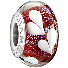 Chamilia silver bright pink hearts glass bead - Product number 1404997