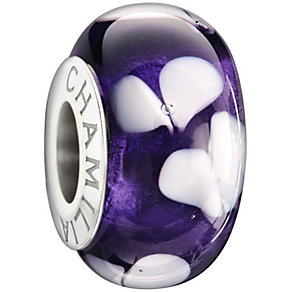 Chamilia silver dark purple hearts glass bead - Product number 1405012