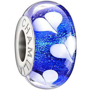 Chamilia silver dark blue hearts glass bead - Product number 1405039