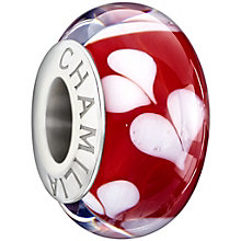 Chamilia silver red hearts glass bead - Product number 1405047