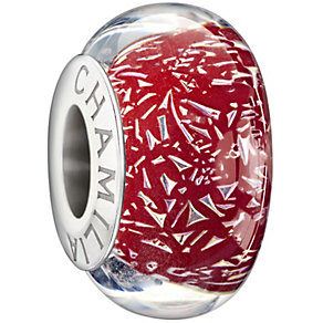 Chamilia silver red confetti glass bead - Product number 1405098