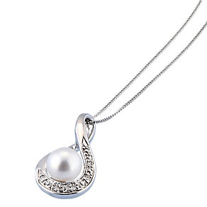 9ct White Gold Cultured Freshwater Pearl Pendant - Product number 1405152