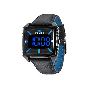 Police Countdown Men's Black Leather Strap Watch - Product number 1405551