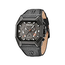Police Hunter Men's Black Leather Strap Watch - Product number 1405608
