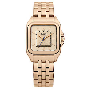 Oasis Ladies' Square Dial Rose Gold Plated Bracelet Watch - Product number 1405632