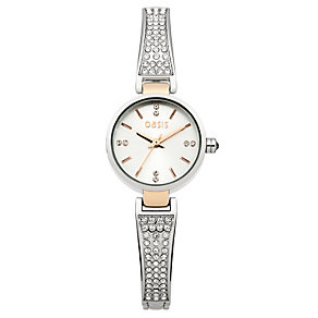 Oasis Ladies' Silver & Rose Tone Stone Set Bracelet Watch - Product number 1405640