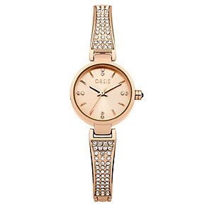 Oasis Ladies' Rose Gold Plated Stone Set Bracelet Watch - Product number 1405659