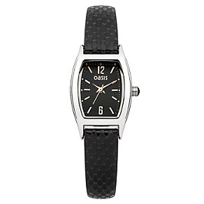 Oasis Ladies' Tonneau Dial Black Leather Strap Watch - Product number 1405667