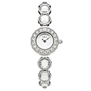 Oasis Ladies' Silver Dial Stone Set Bracelet Watch - Product number 1405675