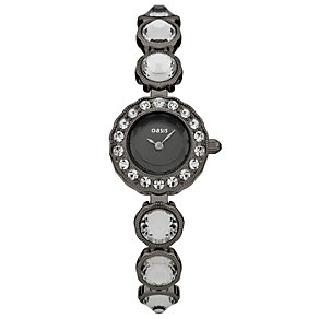 Oasis Ladies' Black Dial Stone Set Bracelet Watch - Product number 1405683