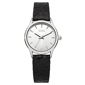 Oasis Ladies' Silver Dial Black Glitter Strap Watch - Product number 1405691