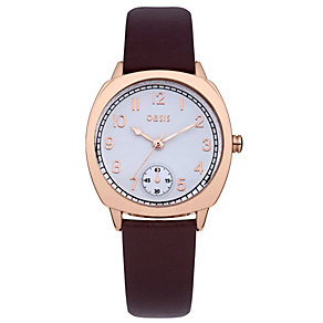 Oasis Ladies' White Dial Brown Leather Strap Watch - Product number 1405705