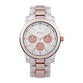 Oasis Ladies' White Plastic & Rose Gold Tone Bracelet Watch - Product number 1405713