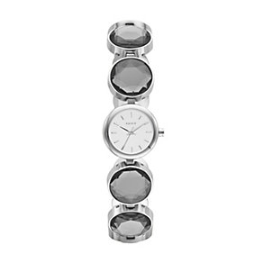 DKNY Ladies' Silver Tone Crystal Circle Bracelet Watch - Product number 1406426