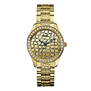 Guess Ladies' Gold Tone Stone Set Bracelet Watch - Product number 1407201