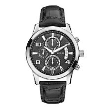 Guess Men's Stainless Steel Black Leather Strap Watch - Product number 1407295
