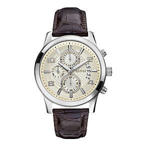 Guess Men's Stainless Steel Brown Leather Strap Watch - Product number 1407317