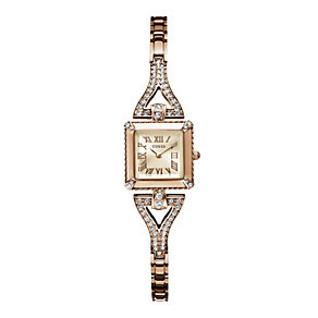 Guess Ladies' Rose Gold Tone Stone Set Bracelet Watch - Product number 1407333