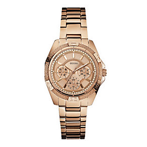 Guess Ladies' Rose Gold Tone Bracelet Watch - Product number 1407465