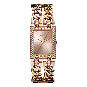 Guess Ladies' Rose Gold Tone Stone Set Bracelet Watch - Product number 1407473