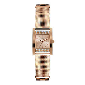 Guess Ladies' Rose Gold Tone Mesh Bracelet Watch - Product number 1407481