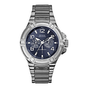 Guess Men's Blue Dial Stainless Steel Bracelet Watch - Product number 1407503