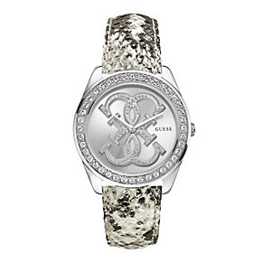 Guess Ladies' Stone Set Snakeskin Effect Strap Watch - Product number 1407546