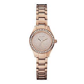 Guess Ladies' Rose Gold Tone Stone Set Bracelet Watch - Product number 1407562