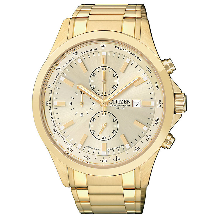 citizen watches men s ladies eco drive h samuel citizen men s chronograph gold plated bracelet watch product number 1409026