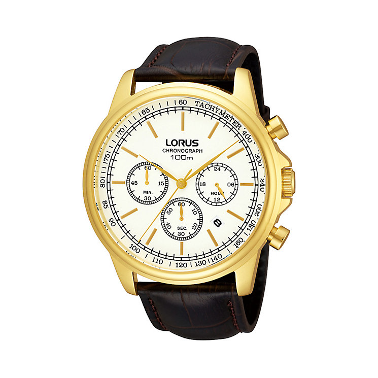 Lorus Men's Gold-Plated Brown Leather Strap Watch - Product number 1409069