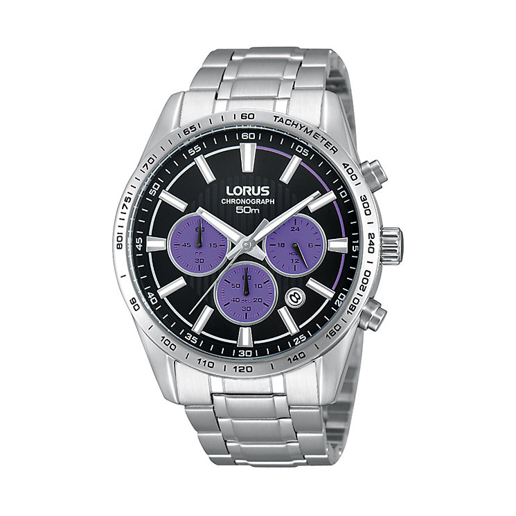 Lorus Men's Black Dial Stainless Steel Bracelet Watch - Product number 1409107