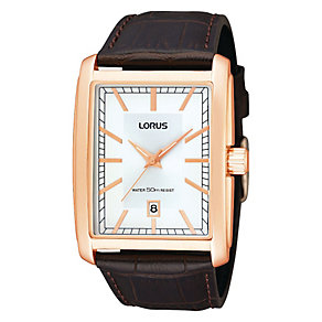 Lorus Men's Rectangle Rose Tone Brown Leather Strap Watch - Product number 1409271
