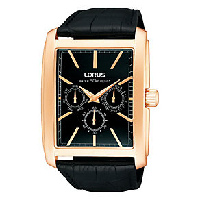 Lorus Men's Rectangle Rose Tone Black Leather Strap Watch - Product number 1409298