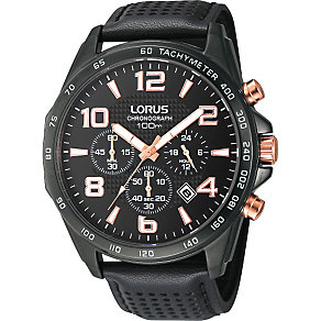 Lorus Men's Black Leather Strap Watch - Product number 1409301