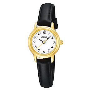 Lorus Ladies' Stainless Steel Black Leather Strap Watch - Product number 1409344