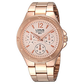 Lorus Ladies' Chronograph Rose Gold Tone Bracelet Watch - Product number 1409395