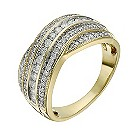 18ct yellow gold 1/2 carat diamond crossover ring - Product number 1410040