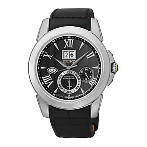 Seiko Kinetic Perpetual Men's Black Leather Strap Watch - Product number 1411144