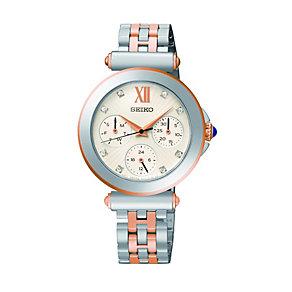 Seiko Ladies' Stone Set Two Tone Bracelet Watch - Product number 1411195
