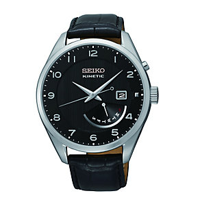 Seiko Men's Stainless Steel Black Leather Strap Watch - Product number 1411233