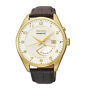 Seiko Kinetic Retrograde Men's Black Leather Strap Watch - Product number 1411241