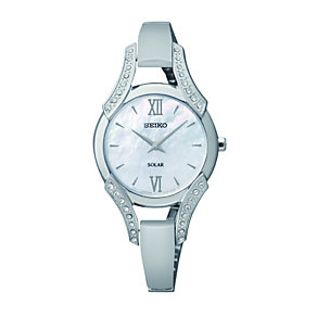 Seiko Solar Ladies' Crystal Set Mother Of Pearl Bangle Watch - Product number 1411284
