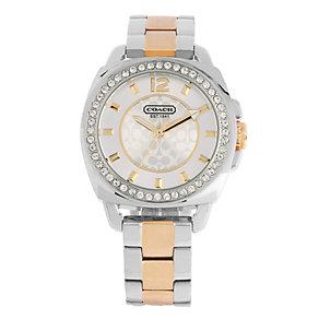 Coach Boyfriend ladies' stone set two colour bracelet watch - Product number 1412086