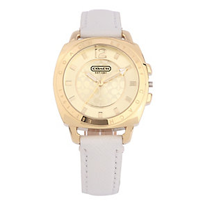 Coach Boyfriend Small ladies' white leather strap watch - Product number 1412183
