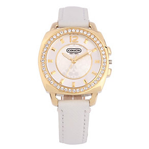 Coach Boyfriend Small ladies' white leather strap watch - Product number 1412213